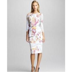 beautiful elegant butterfly print fresh brief elastic one-piece  slim  with blet dress