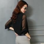 blusas Women's Fashion Blouses Shirts collar Sexy Gauze Ruffles Long Sleeve Shirt Women white Chiffon Blouse Ladies Tops