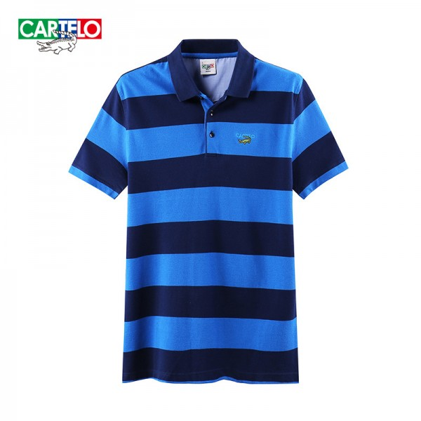 cartelo genuine brand men's fashion business casual cotton lapel Korean Slim striped
