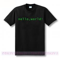 cool design print Programmer computer T-shirt hello world linux geek male short-sleeve men's shirt male basic top tee