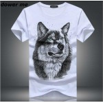 cotton 3d t shirt men 2016 summer new arrvial 3D funny wolf man's T-shirt extended plus size 5XL white black blue