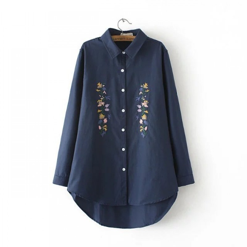 Dower Me Spring Autumn Women Blouses Embroidery Long Sleeve Turn