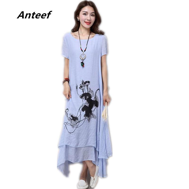 fashion cotton linen plus size vintage print women casual loose long ...