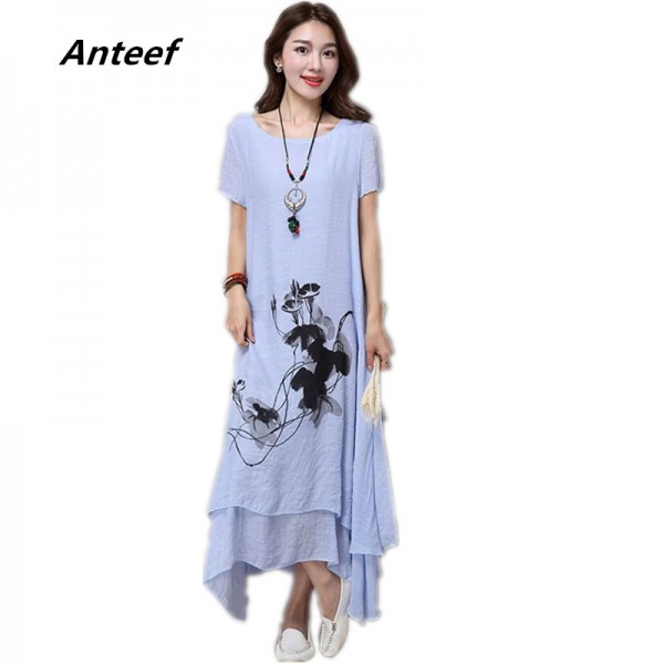 Fashion Cotton Linen Plus Size Vintage Print Women Casual Loose Long