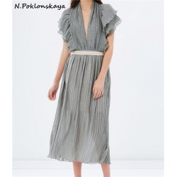 fashion new sexy long one-piece dress V-neck hot sale high quality  spring and summer party vacation beach