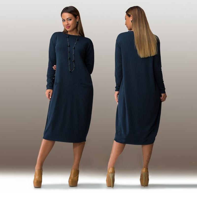 Plus Size Casual Women Dress 2017 Autumn Winter Solid Knee Length