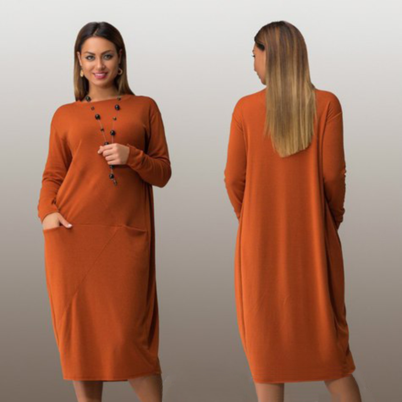 Fashionable Plus Size Casual Women Dress 2017 Autumn Winter Solid