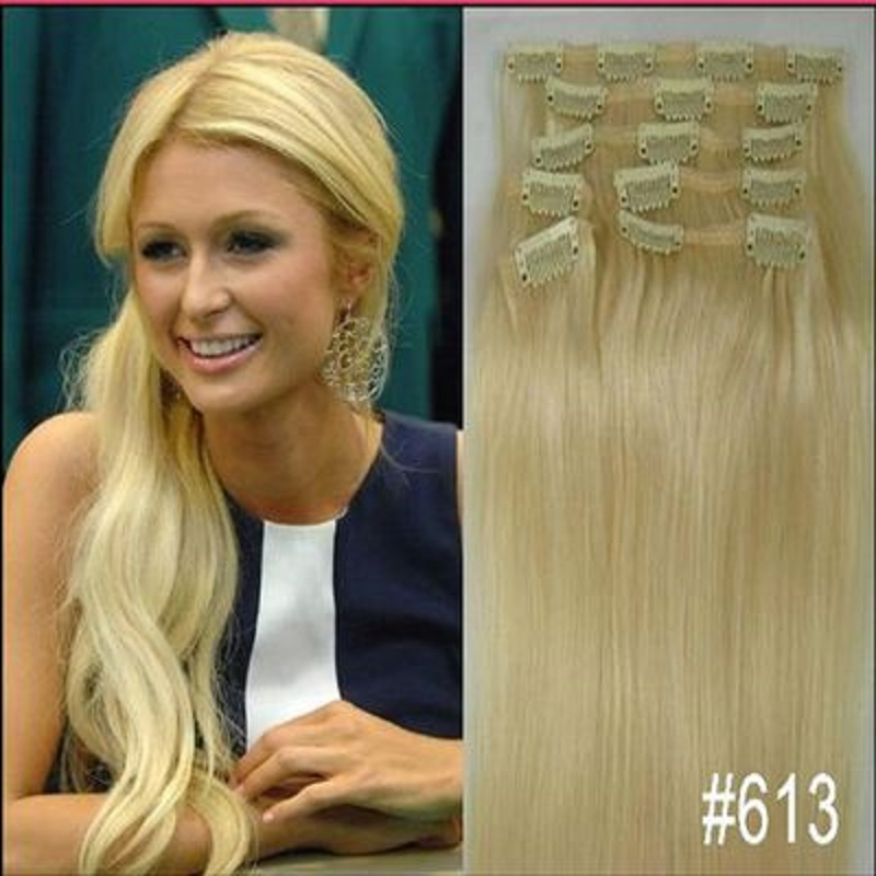 Free Shipping 16 32 8pcs Set 613 Blonde Hair Pieces Soft Indian