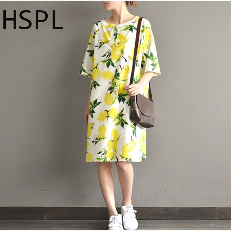 Hspl Plus Size Dress 2017 Ladies Tunic Casual Yellow Floral Retro