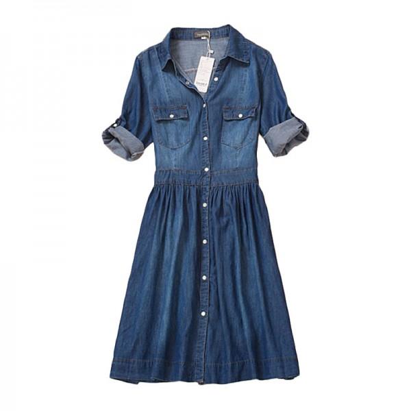 high quality 2016 denim dress summer autumn clothing plus size women Jeans dress elegant slim cowboy casual Dresses vestidos