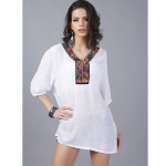iEASYSEXY 2017 New Office Top for Women Retro Embroidery Vintage Boho Shirt Women Blouses Cotton Linen Blouse Ethnic Beach Tops