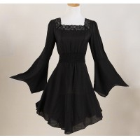7d37f21d916d0d long top lace black white shirt for woman village peasant blouses large  size UK flare sleeves bell party clothes gypsy boho xxxl