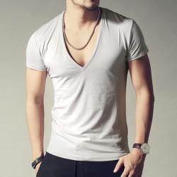men's brand V neck sexy T-shirt men cotton lycra t-shirts Short Sleeve Tops Tees Men's T-shirt  2016 New Mens Summer designer