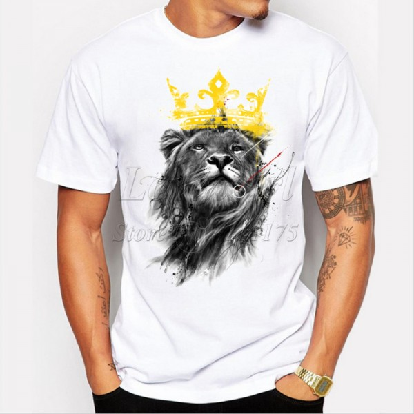 men's lastest 2017 fashion short sleeve king of lion printed t-shirt funny tee shirts Hipster O-neck cool tops