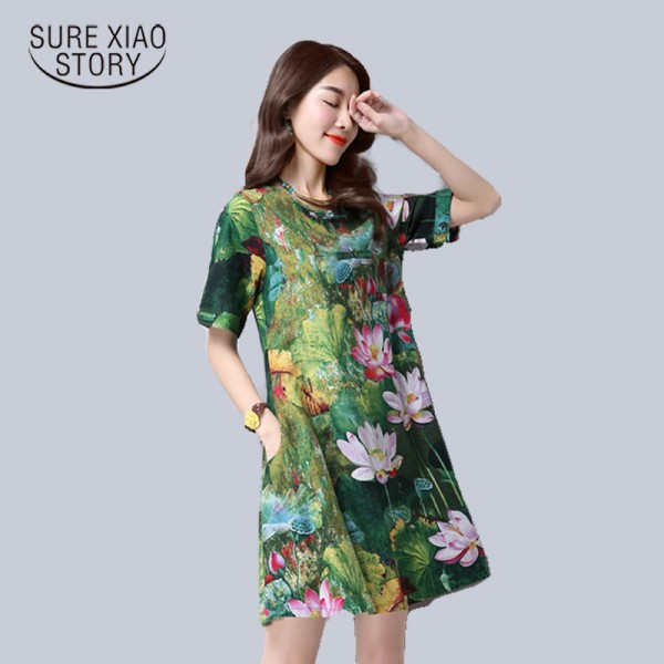 new 2016  fashion plus size women dress cotton elegant slim  short sleeved Retro loose  female printing dress hot sale 931B 25