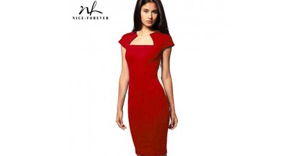 New Solid Vintage Dresses Women Elegant Square Neck Knee Length