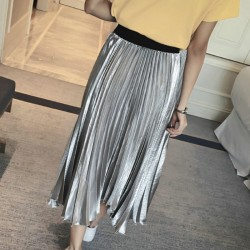 new exclusive style Pleated metallic dress for women 2016 silver black pink color to choose long ankel dress