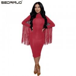 sexy club dress 2016 women autumn/winter party dresses long sleeve tassel bandage dress vestidos plus size women suede clothing