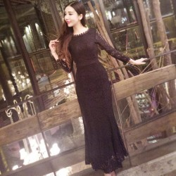 sexy package hip white black lace dress o-neck long sleeve long mermaid dress spring women trumpet dresses 1831QY