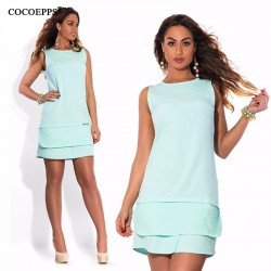 sleeveles summer women dresses big sizes fashion NEW 2017 plus size women clothing Cute mini dress casual o-neck vestidos L-6XL