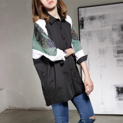 [soonyour] 2017 spring new European large size loose personality fight long-sleeved shirt women A001341