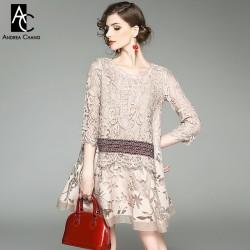 spring summer runway designer womans dresses khaki gray silk cotton dress lace top hollow out flower pattern bottom cute dress
