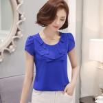 summer 2016 new fashion women tops Short sleeved chiffon women clothing   Korean elegant  blouse loose female shirt 861C 25