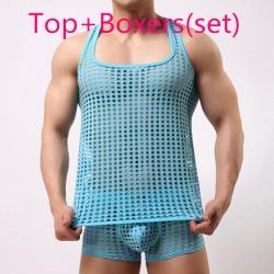 tank top men fashion sexy gay male shorts Cute underwear set Mesh net fishnet undershirts vest clothing bodybuilding hollow out