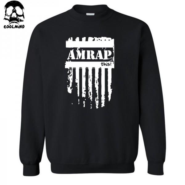 top quality cotton blend AMRAP FITNESS print men hoodies crossfit crewneck mens hoodies and sweatshirts 2017 C01