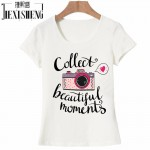 vogue Letter camera Printed t shirt women Summer Tops Tees cotton Short Sleeve brand fashion round neck tshirt HH244