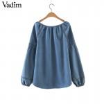 women geometric embroidery V neck denim shirts loose lantern sleeve vintage blouse European style casual retro tops blusa LT1674