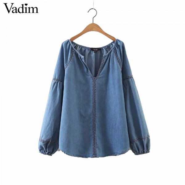 women geometric embroidery V neck denim shirts loose lantern sleeve vintage blouse European style casual retro tops blusa LT1674