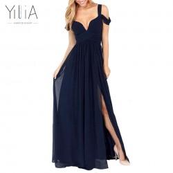 yilia 2016 New Women Sexy Long Dress Dark Blue Plain Split Dramatic Off Shoulder Strapless Backless Deep-V Party Dresses Vestido
