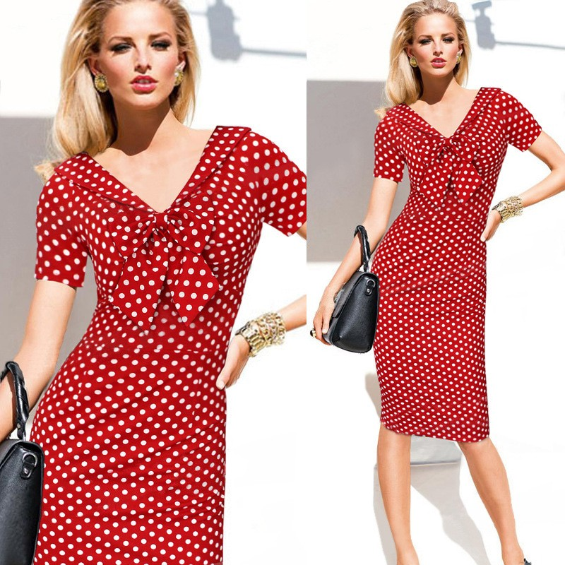-V-Neck-Pinup-Rockabilly-Bowknot-Vintage-Polka-Dot-Office-Lady-Casual-Work-Party-Sheath-Bodycon-Penc-32701370266