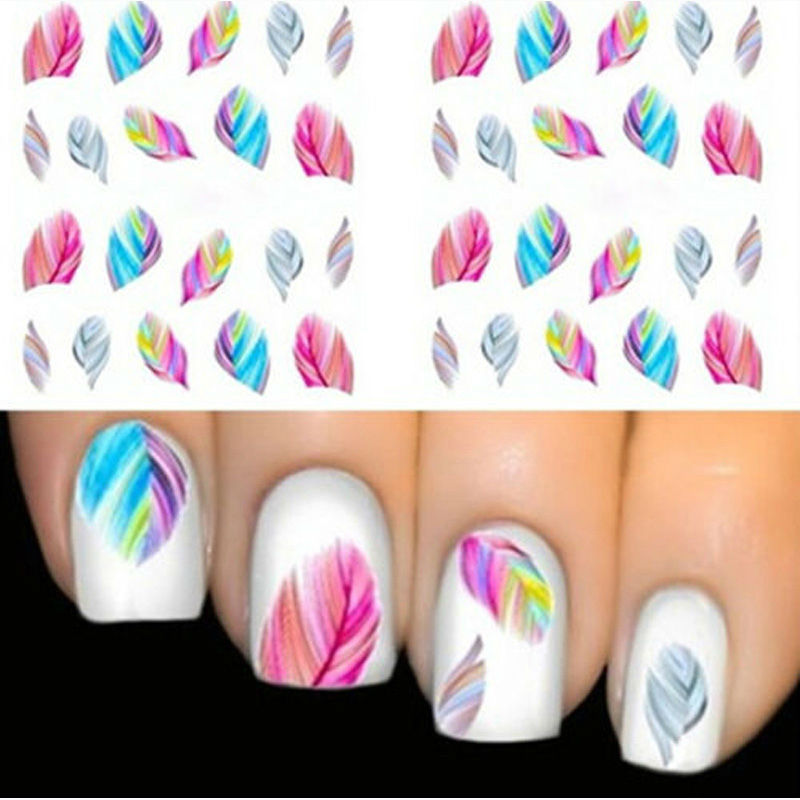 1pcs FEATHER Nail Art Water Transfer Decal Sticker Rainbow Dreams ...