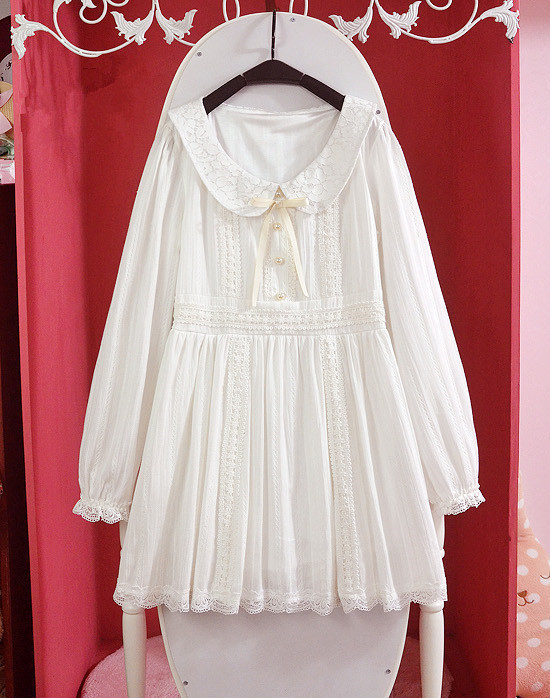 2016-Autumn-Lace-Lolita-White-Dress-Princess-Pearl-Cotton-Fashion-Cute-Lovely-Dress-GirlampWomen-Swe-2043902782