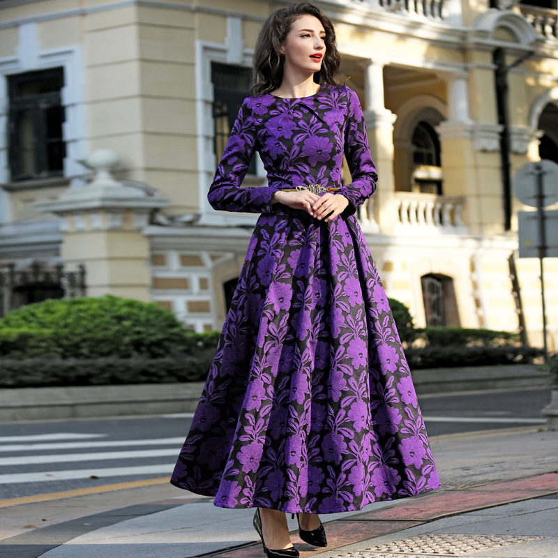 Purple Long Sleeve Maxi Dress