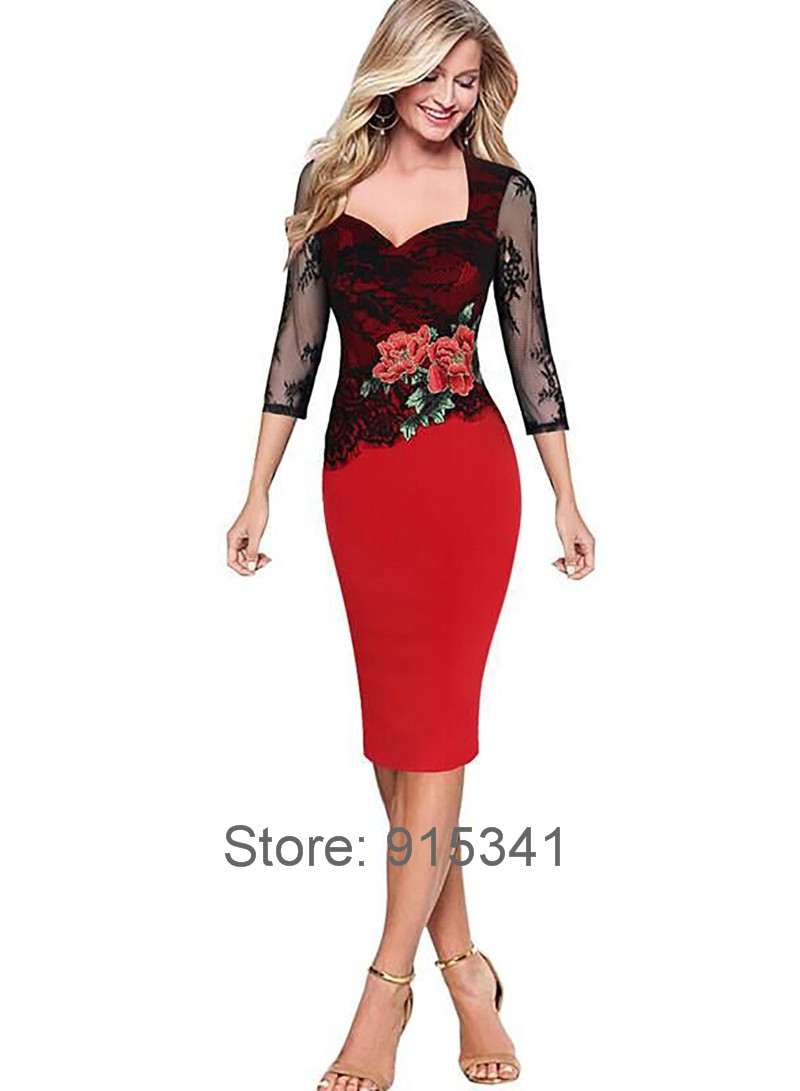 2017-Autumn-Winter-Women-34-Sleeve-Square-Collar-Rose-Embroidered-Lace-Patchwork-Bodycon-Vintage-Pen-32758756133