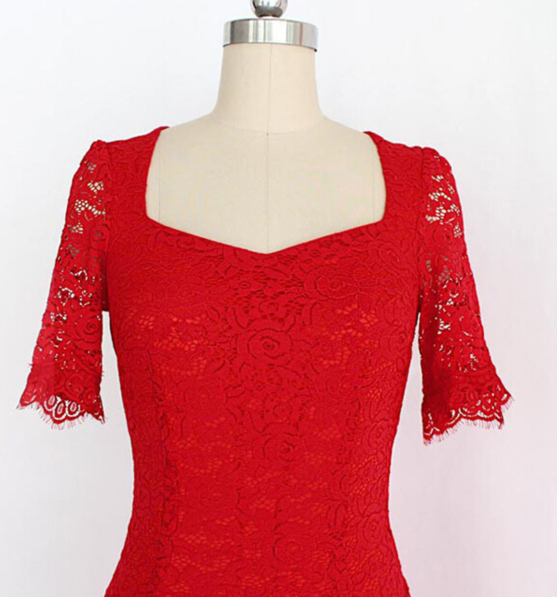 2017-European-station-super-large-size-lace-dress-women39s-new-design-square-collar-half-sleeve-slim-32637599304