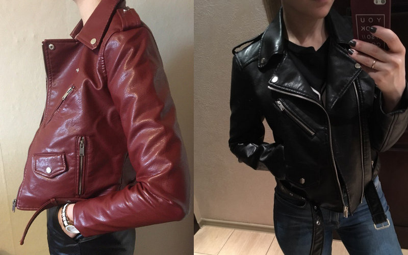 0eb381145 2017 New Fashion Women Wine Red Faux Leather Jackets Lady Bomber Motorcycle  Cool Outerwear Coat with Belt Hot Sale