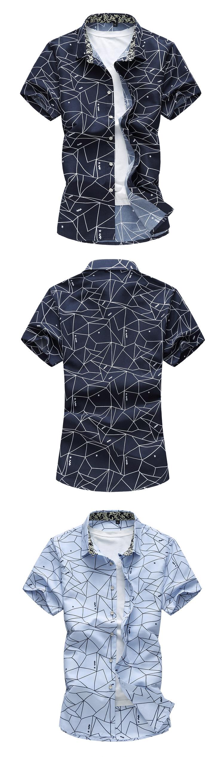 9c91b5096 2017 Summer New Men Shirt Fashion Plaid Printing Male Casual Short ...