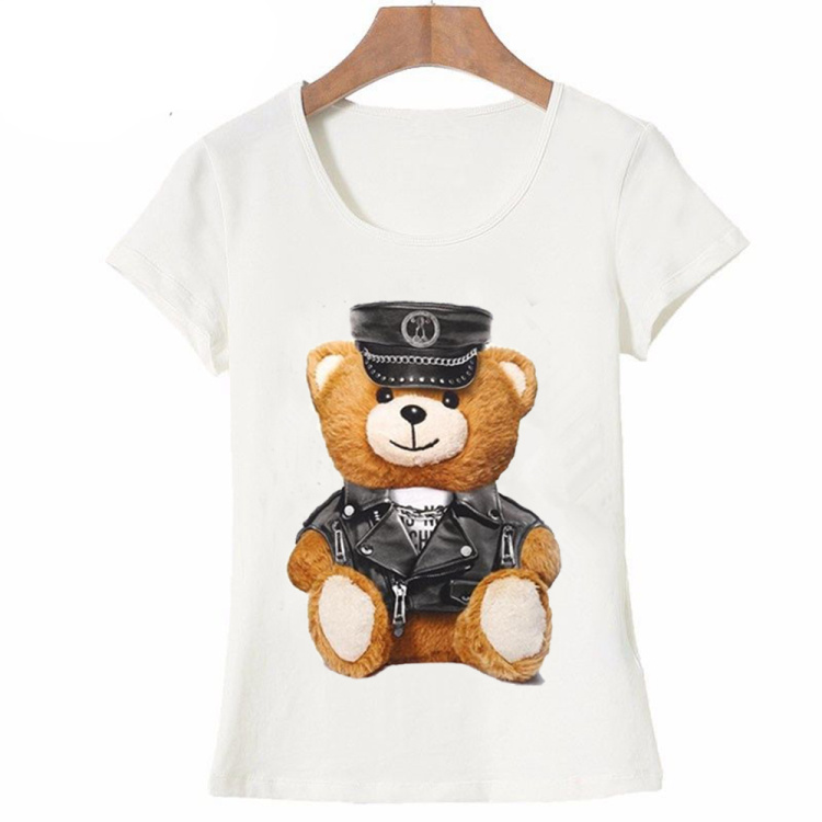 2017-new-summer-fashion-Women39s--short-sleeve-super-cute-vogue-Police-bear-Teddy-T-shirt-white-tops-32790955644