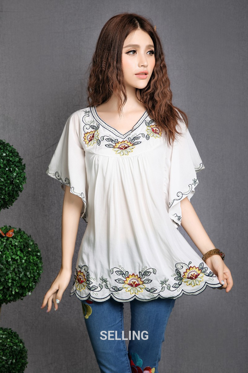 346ee940aa10a 2018 Women Cotton Tops Blouse Tunic Vestidos Vintage Mexican Ethnic ...