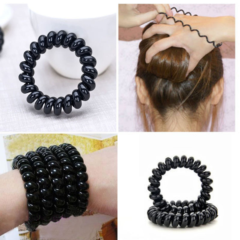 3pcs Black Telephone Wire Line Elastic Bands For Hair Ties