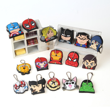 5cd01f68f070 Anime-Silicone-Key-Cap-Cat-Minion-Key-Chain-. Super Hero Anime Key Cap  Batman Hulk Keychain Women Bag Charm Key Holder ...
