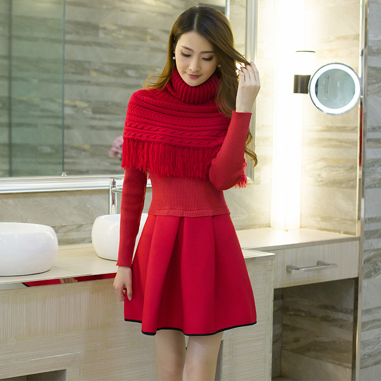 Autumn Winter New Sexy Long Sleeve Knee,Length Knit Sweater