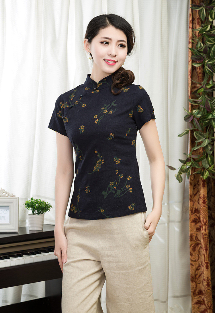 Brand-New-Lady39s-Cotton-Linen-Floral-Shirt-Fashion-Chinese-Tradition-Women39s-Blouses-Shirts-Tops-S-32710265839