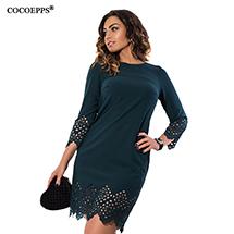 COCOEPPS Fashion casual Sequins women dresses big sizes Turtleneck ...