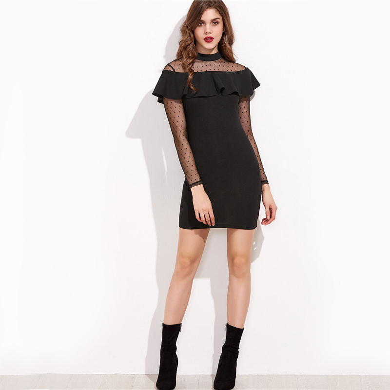 COLROVIE-Sexy-Club-Dresses-New-Arrival-Sheath-Mini-Dress-Black-Dotted-Mesh-Shoulder-And-Sleeve-Ruffl-32788653438