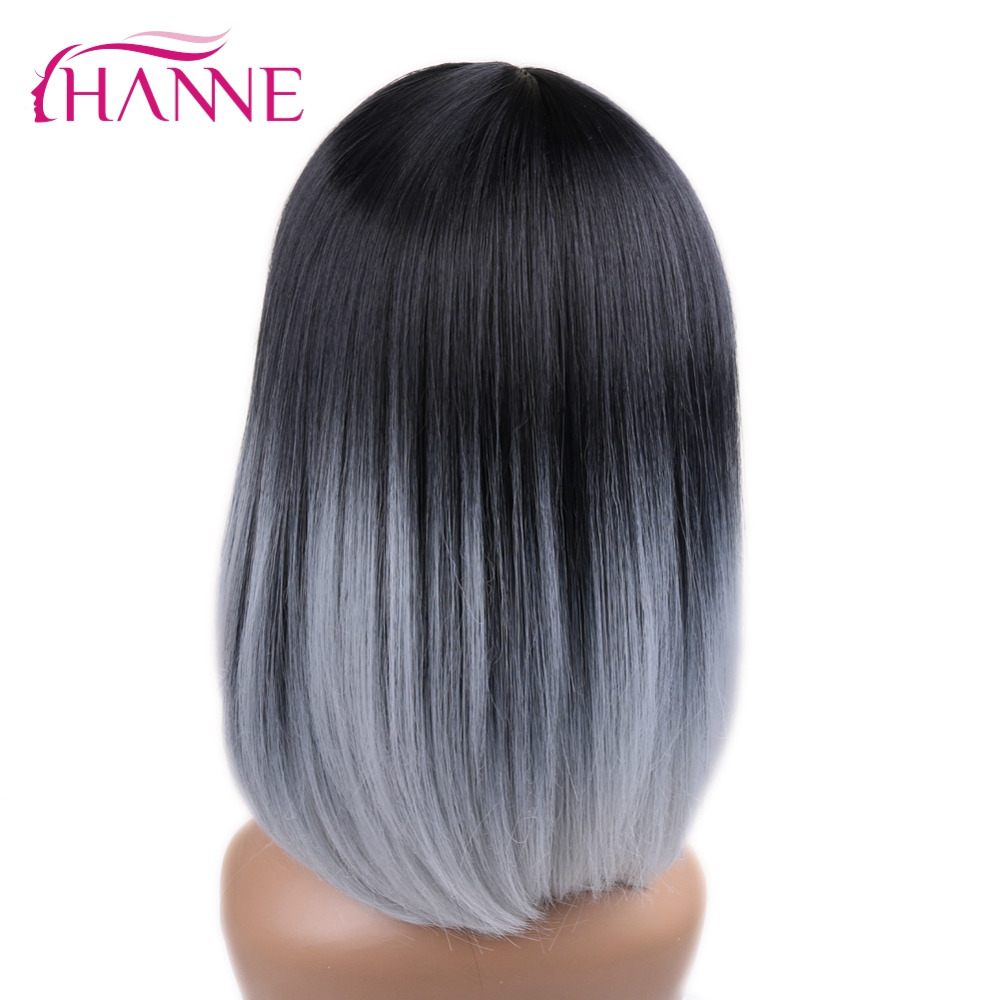 Hanne Black To Light Grey Ombre Color Skin Top Short Haircut Straight Heat Resistant Synthetic Women Cosplay Or Party Bob Wigs